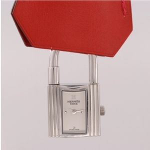 Hermes Kelly Couchette Red Stainless Steel Watch